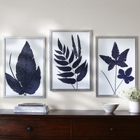 INDIGO FERNS FRAMED PRINTS