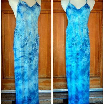 Vintage Boho Halter Top Wrap Skirt Tie Dye 2 pc set Fringe Halter Top Embroidery India Festival Set  Small 32B  34W