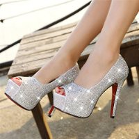 MagicPeices Rhinestone Peep Toe High Heel Platform Party Heeled Shoes 042405 FDP 0705