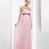 Chiffon Pleated Ruffles Strapless Floor Length Bridesmaid Dresses