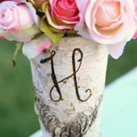 Personalized Tall Birch Wood Vase Eco Friendly by braggingbags