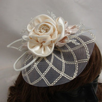 Wedding Fascinator Ivory Mohair Hat with by Hoalanebridal on Etsy