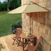 Half-Round Patio Umbrella, Table and 2 Chairs