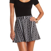 HIGH-WAISTED TRIBAL PRINT SKATER SKIRT