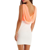COWL-BACK COLOR BLOCK DRESS