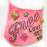 Freeform Cuff Neon Pink Love Sets You Free by LeatherCoutureLV