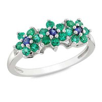 Lab-Created Emerald and Blue Sapphire Flower Ring in Sterling Silver