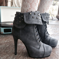 Studded gray high heel