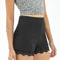 FOREVER 21 High-Waisted Lace-Trim Shorts Black/Black