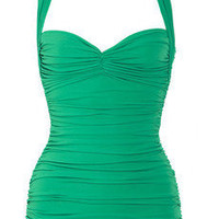 Norma Kamali|Bill ruched halterneck swimsuit|NET-A-PORTER.COM