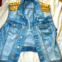 Denim Spiked Best by Houseofmotherjoana on Etsy