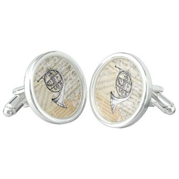 Vintage French Horn Music Cuff Links