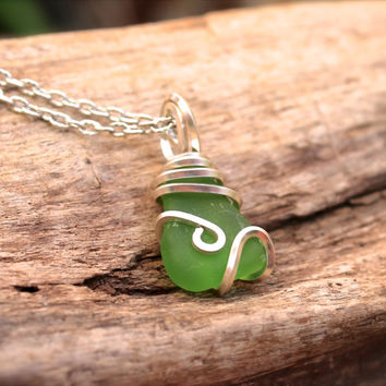 Sea Glass Necklace - Hawaiian Jewelry - Green Seaglass Jewelry from Hawaii - Ocean Inspired Gypsy Necklace - Boho Gypsy Sea Glass Jewelry