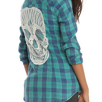 Green Plaid Skull Back Top