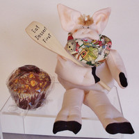 Home Decor,  Whimsical  Piglet Handmade Gift, Soft Sculpture Piglet, Fun Stuff, House Warming Gift