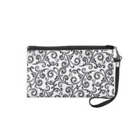 Bagettes Bag wristlet black & white swirls from Zazzle.com