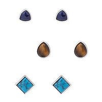 FOREVER 21 Geo Faux Stone Studs Navy/Brown One