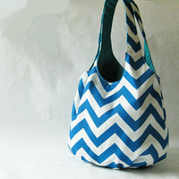 Tote bag turquoise blue chevron stripes by oktak on Etsy