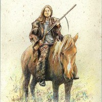 DAWN Female rider original equine drawing