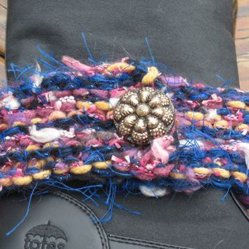 Boot Bracelet Knit, Detachable Vintage Button, Blue, Pink Novelty Yarn