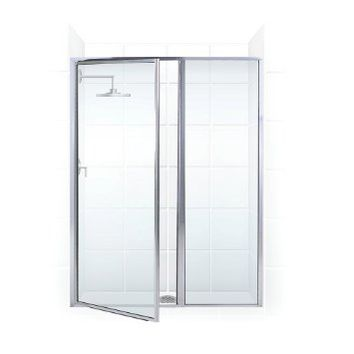 Legend Series Hinge Shower Door and Inline Panel | Coastal Shower Doors | (Chrome) (Clear Glass)