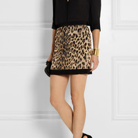 Balmain | Leopard-jacquard stretch-knit mini skirt | NET-A-PORTER.COM