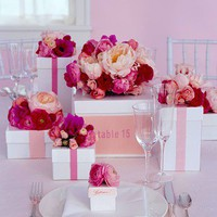 Flower Boxes - Pink and Red Wedding Decorations and Favors - Plan Your Wedding