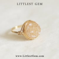 Peach Druzy Ring - wire wrapped jewelry handmade - wire wrapped ring - unique rings - custom