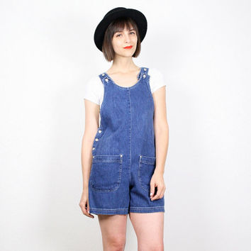 Vintage Denim Overalls 1990s Overall Shorts Blue Jean Jumper 90s Soft Grunge Shortalls Dungarees Romper Playsuit Onesie S Small M Medium