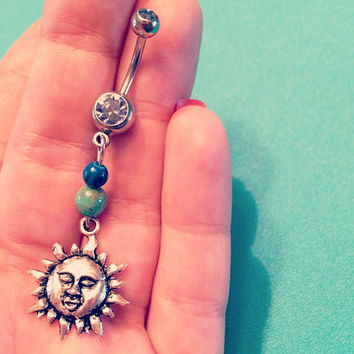 Sun Belly Ring, with Very Light Blue Gemstone