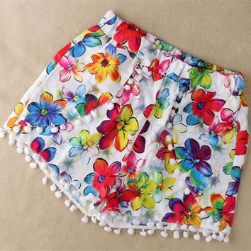 Tropical Flower Print Pom Pom Shorts