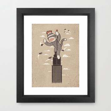 Sock Monkey Just Wants A Friend - Vintage Style Framed Art Print by Ronan Lynam | Society6