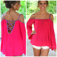 Fruit Twist Fuchsia Open Shoulder Top