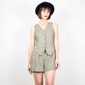 Vintage 90s Romper Vest Top Shorts Jumper Moss Green Floral Playsuit 1990s Romper Soft Grunge Shorts Onesie Jumper Outfit S Small M Medium