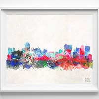 Winnipeg Skyline, Alberta Poster, Canada Print, Watercolor, Cityscape, City Painting, Illustration, Wall Art, Home Decor [NO 417]