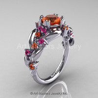 Nature Classic 14K White Gold 1.0 Ct Orange and Pink Sapphire Leaf and Vine Engagement Ring R340-14KWGPSOS