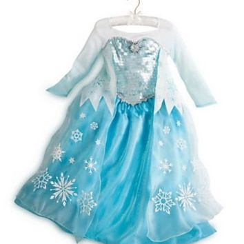 2014 Disney Parks Authentic Frozen Queen Elsa Costume Size 4 [Small] w/ Tiara!