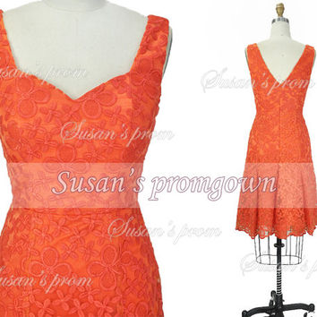 Orange lace prom dress,short prom dress,lace prom dress,bridesmaid dress,cocktail dress,homecoming dress