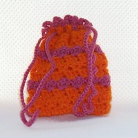 Crochet Gadget Bag Drawstring Closure Orange Pink Snacks Phones