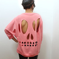 Pink Skull CutOut Sweatshirt L by lipglossandblack on Etsy