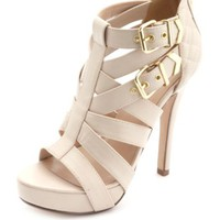 QUILTED STRAPPY BUCKLED PLATFORM HEELS