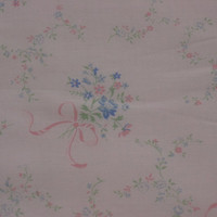 Pale Pink with Pink & Blue Flower Bunches Vintage Fabric - 3 YARDS Long X 24.5 INCHES Wide