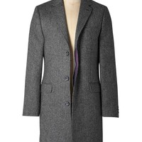 Wool Overcoat (Grey Herringbone)