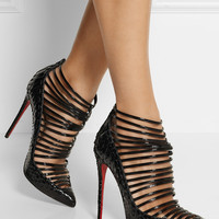 Christian Louboutin - Gortik 120 python and patent-leather ankle boots