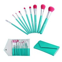 2014 New Ovonni® 9 pcs Red Nylon Hair Makeup Brush Cosmetic Set Kit, Included Powder brush, Blush Brush, Foundation brush, Nose brush, Eyeshadow brush, Lip brush, Eyeliner brush+Lake Green Leather Bag Case