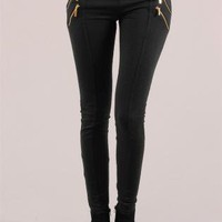 Black Leggings - Black Cotton Leggings with Four | UsTrendy