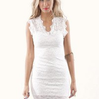 Off-white Mini Dress - Cream Body-Con Sleeveless Lace Dress | UsTrendy