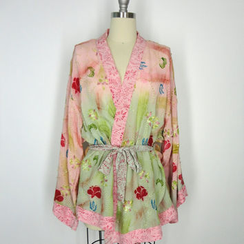 Silk Crepe Kimono Jacket / Hand Made / Vintage Indian Sari / Pink Floral Block Print / Kantha Embroidery / Limited Edition