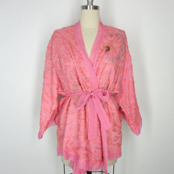 Silk Chiffon Beaded Kimono Jacket / Hand Made / Vintage Indian Sari / Pink Peacock Feather Pearls / Limited Edition