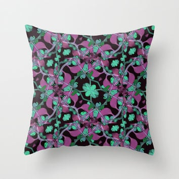 Floral Arabesque Pattern Throw Pillow by Danflcreativo
